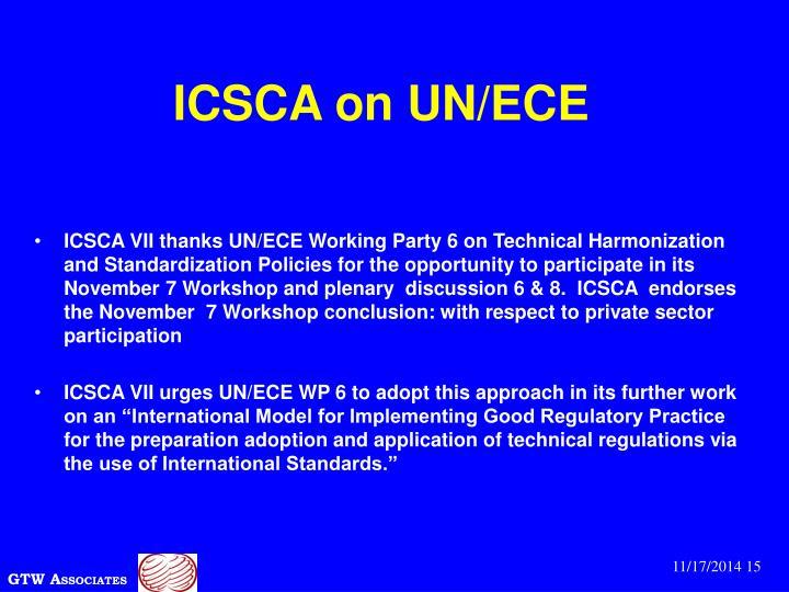 ICSCA on UN/ECE