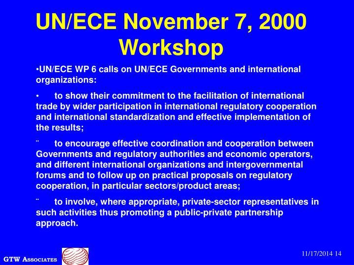 UN/ECE November 7, 2000 Workshop
