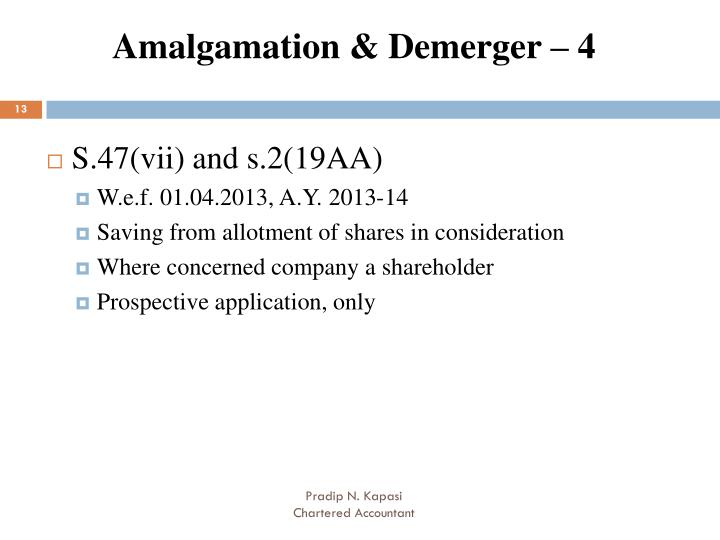 Amalgamation & Demerger – 4