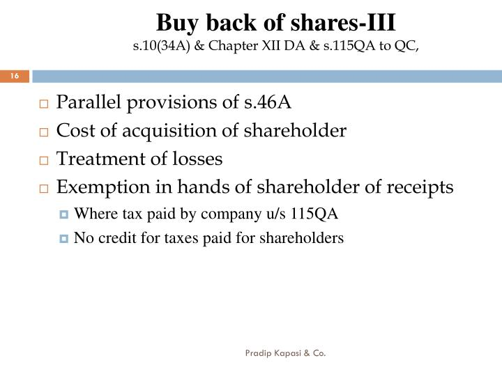 Buy back of shares-III
