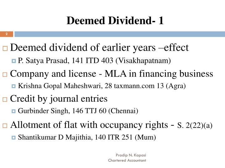 Deemed Dividend- 1