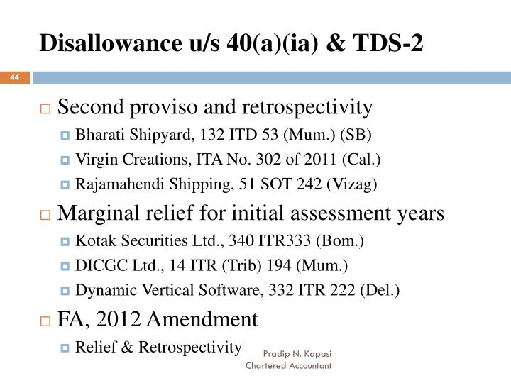 Disallowance u/s 40(a)(