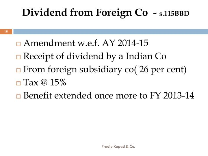 Dividend from Foreign Co  -