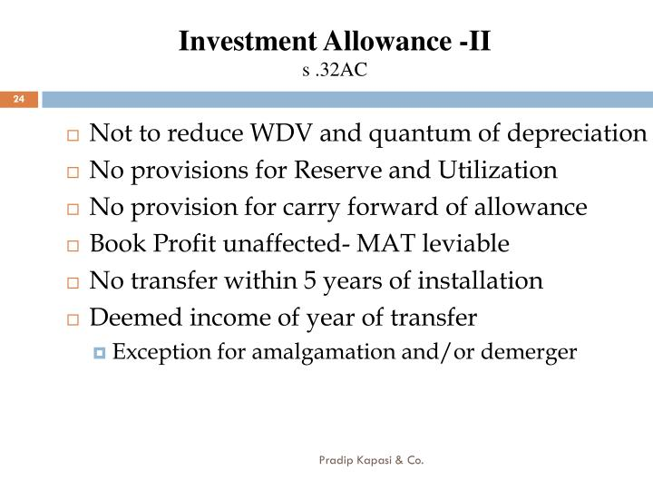 Investment Allowance -II