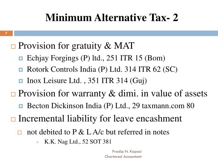 Minimum Alternative Tax- 2