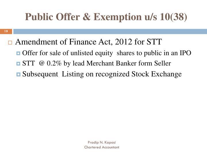 Public Offer & Exemption u/s 10(38)