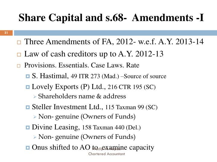 Share Capital and s.68-  Amendments -I