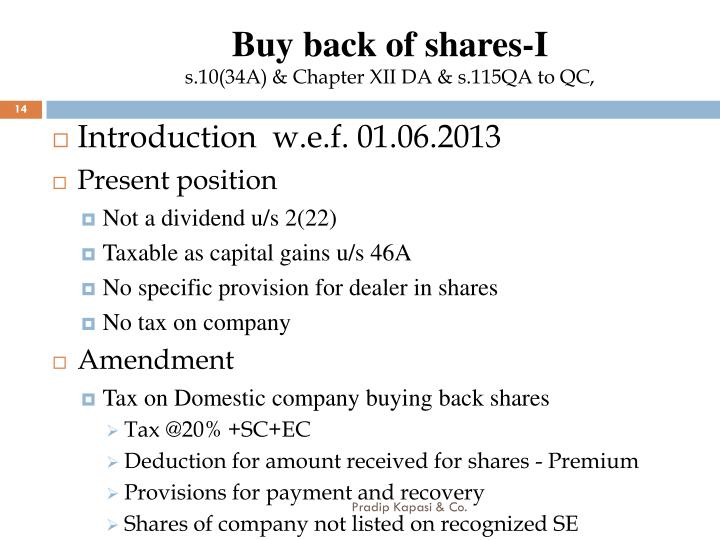 Buy back of shares-I