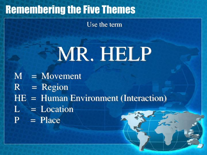 Remembering the Five Themes