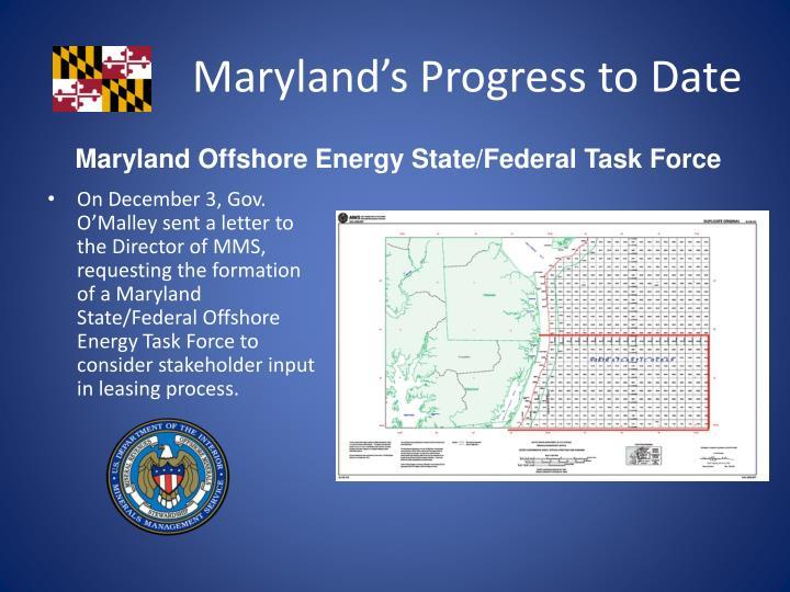 Maryland's Progress to Date