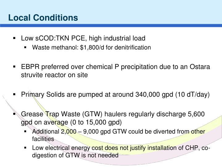 Low sCOD:TKN PCE, high industrial load