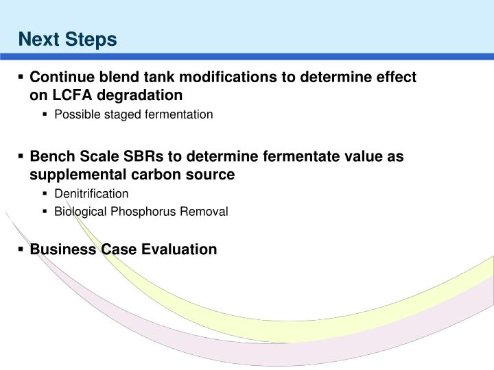 Continue blend tank modifications to determine effect on LCFA degradation