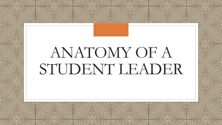 Anatomy of a student leader