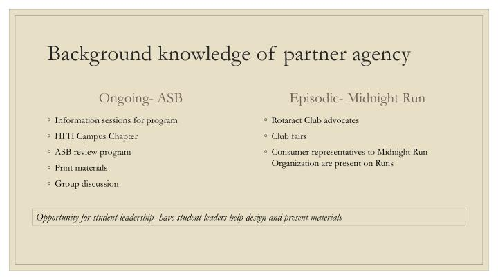 Background knowledge of partner agency