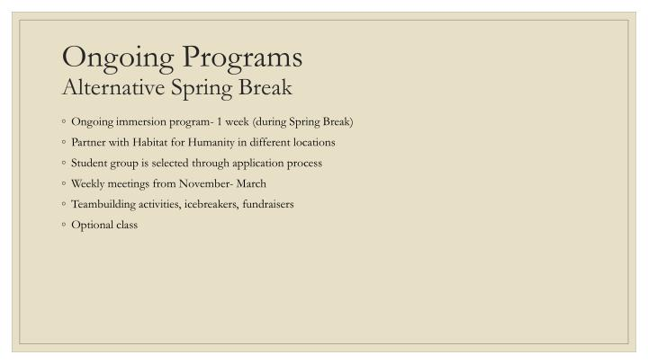 Ongoing Programs