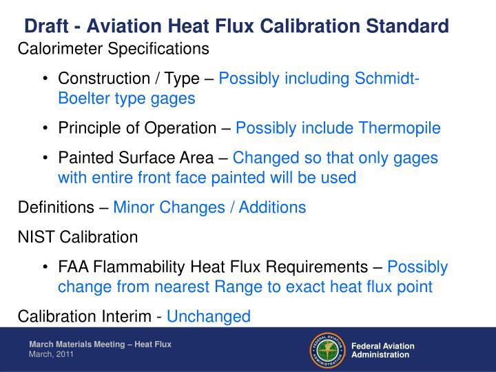 Draft - Aviation Heat Flux Calibration Standard