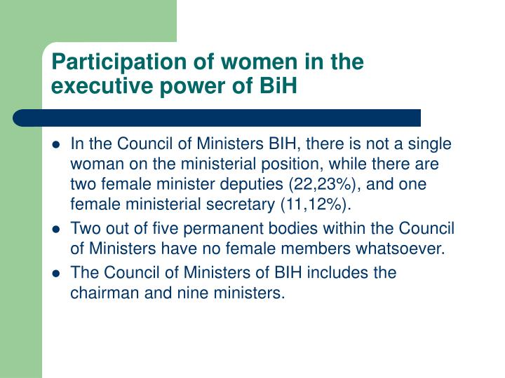Participation of women in the executive power of