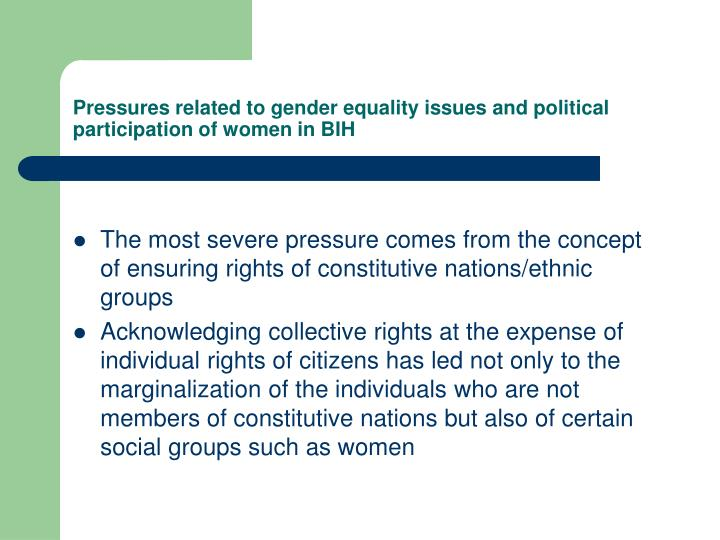 Pressures related to gender equality issues and political participation of women in BIH