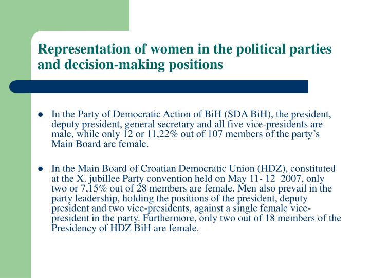 Representation of women in the political parties and decision making positions