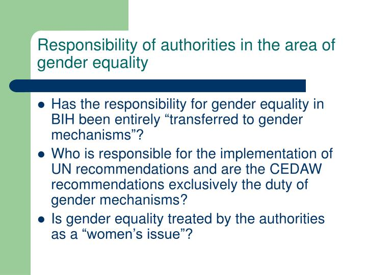 Responsibility of authorities in the area of gender equality