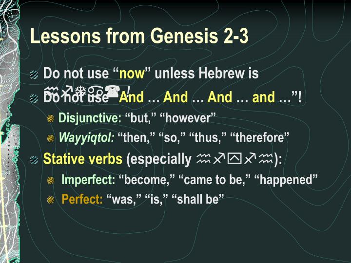 Lessons from Genesis 2-3