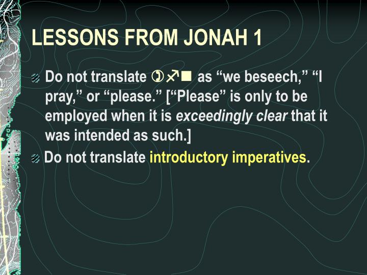 LESSONS FROM JONAH 1
