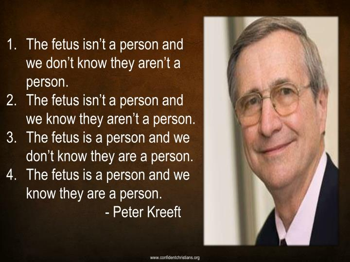 The fetus isn't a person and we don't know they aren't a person.