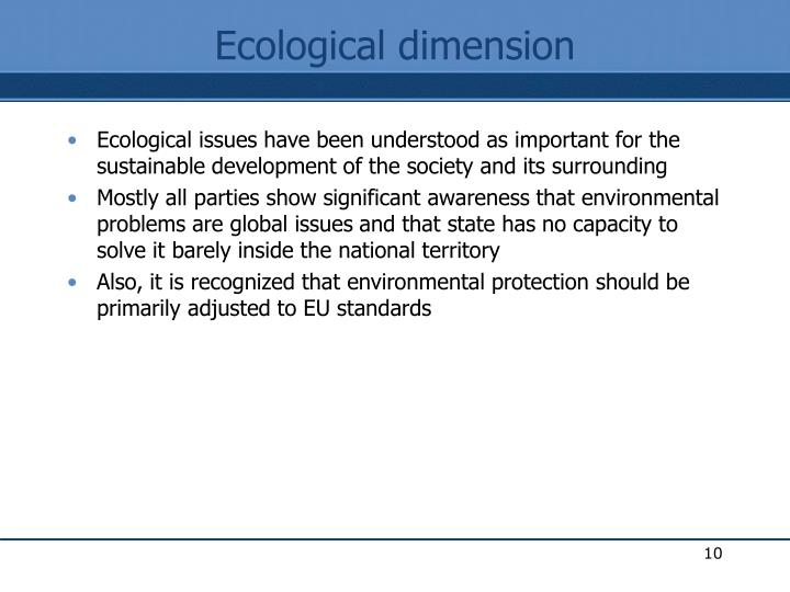 Ecological dimension