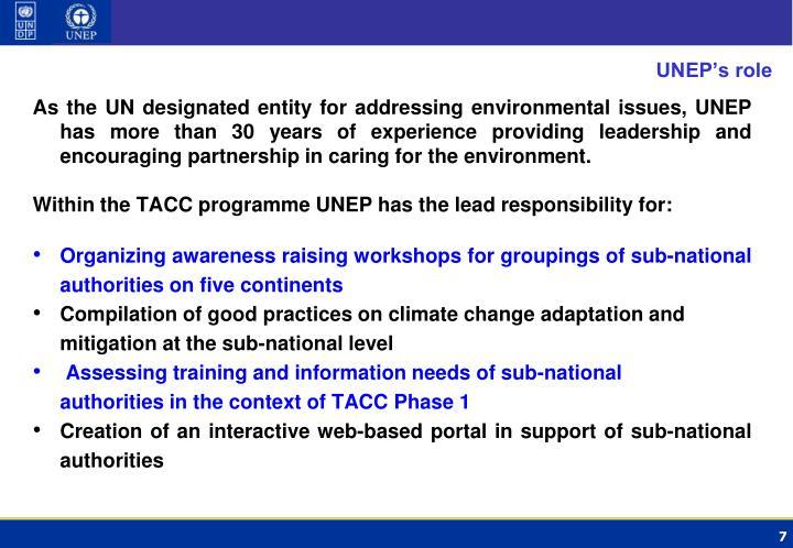 UNEP's role