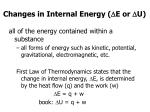 changes in internal energy e or d u