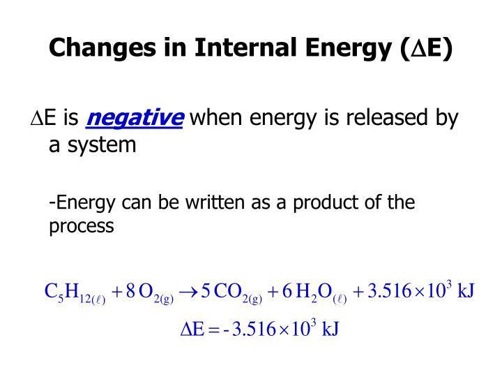Changes in Internal Energy (