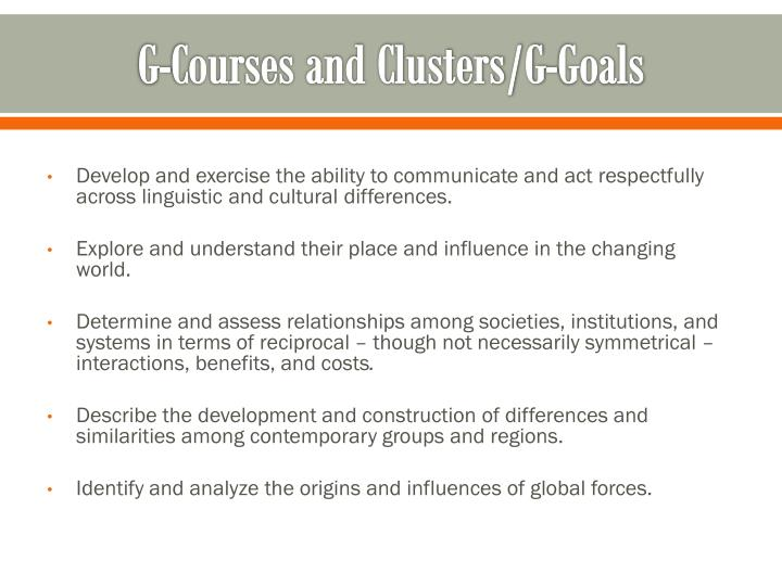 G-Courses and Clusters/G-Goals
