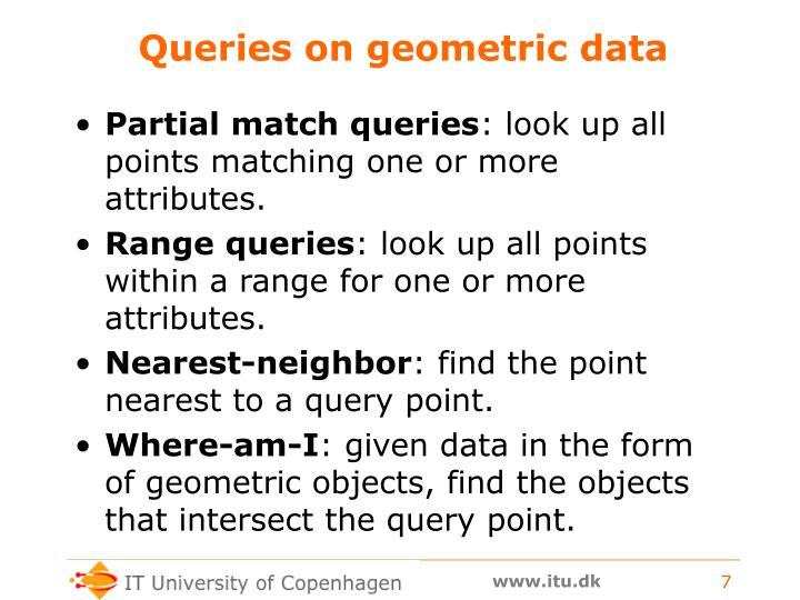 Queries on geometric data