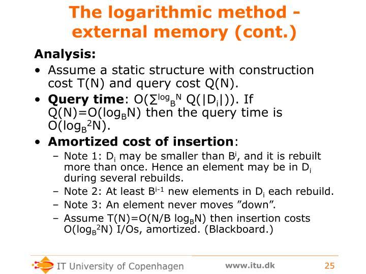 The logarithmic method - external memory (cont.)