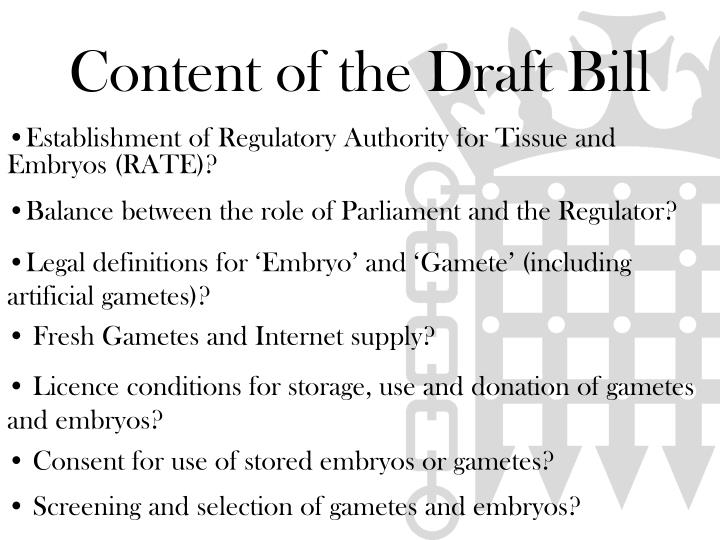 Content of the Draft Bill