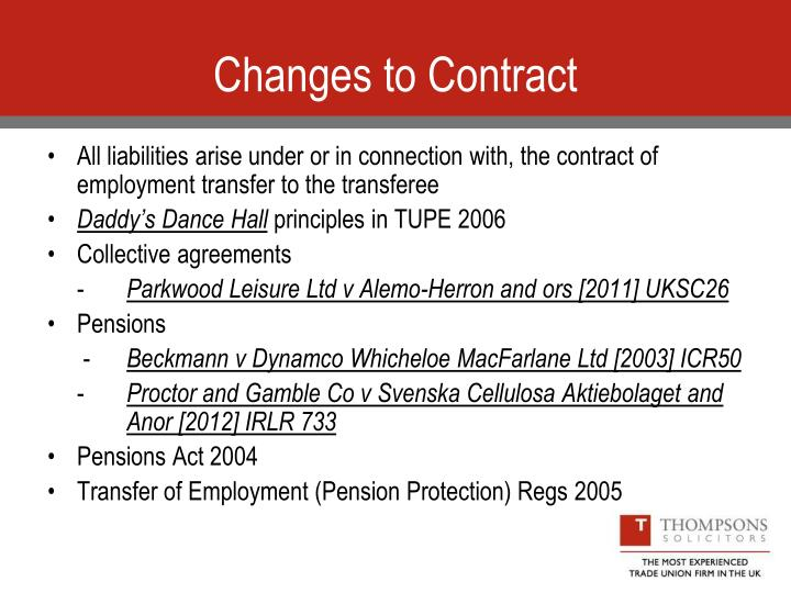 Changes to Contract