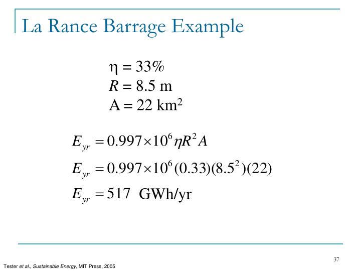 La Rance Barrage Example