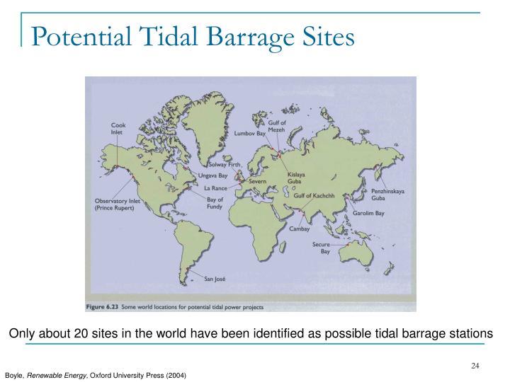 Potential Tidal Barrage Sites