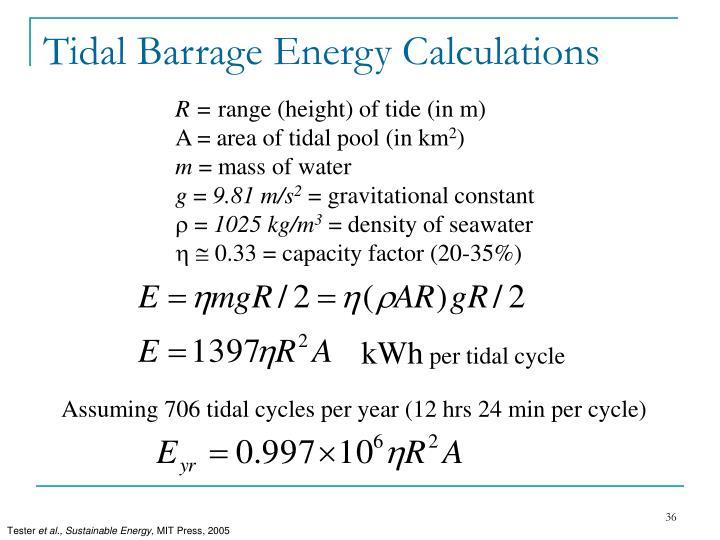 Tidal Barrage Energy Calculations