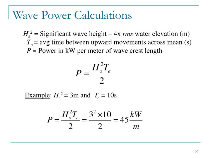Wave Power Calculations