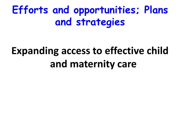Efforts and opportunities; Plans and strategies
