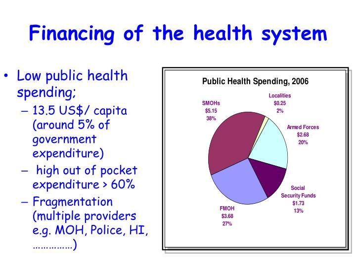 Low public health spending;