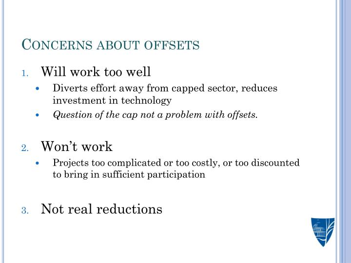 Concerns about offsets