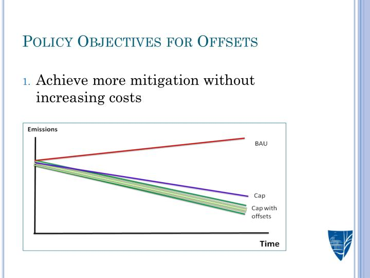 Policy Objectives for Offsets