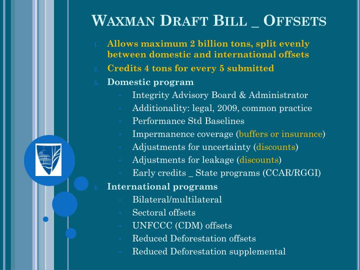 Waxman Draft Bill _ Offsets