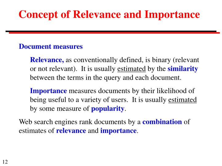 Concept of Relevance and Importance