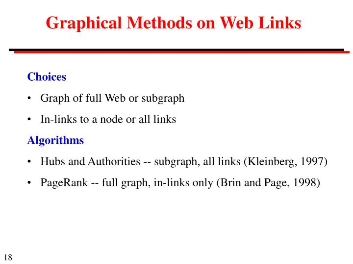 Graphical Methods on Web Links