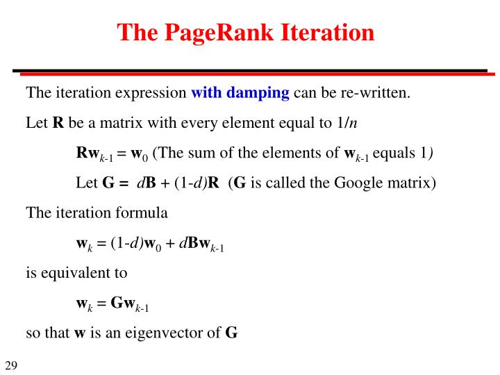 The PageRank Iteration