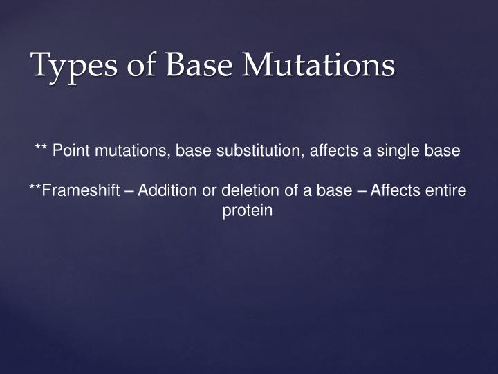 ** Point mutations, base substitution, affects a single base