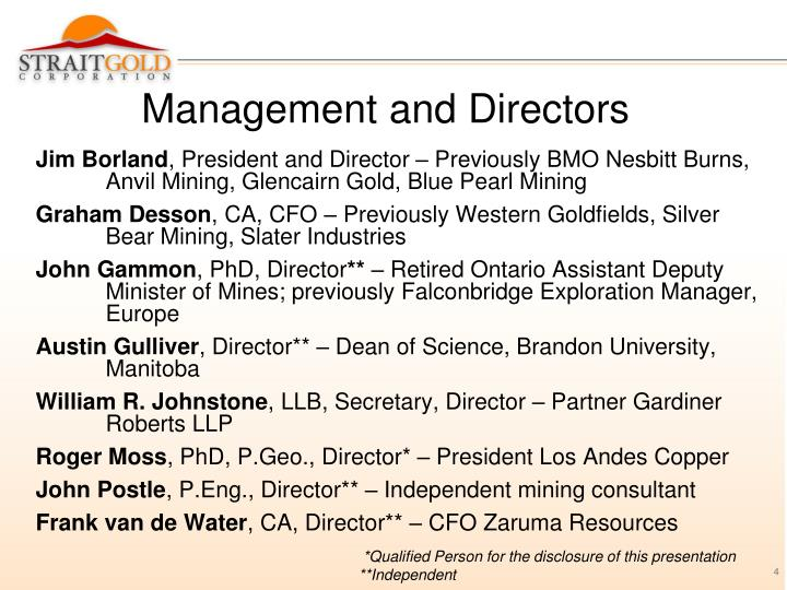 Management and Directors